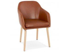 Chaise avec accoudoirs 'TEXAS' brune vintage