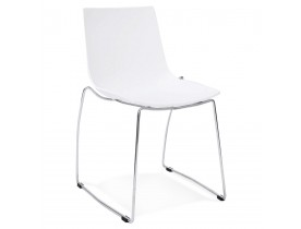 Chaise design 'TRENO' blanche en matière plastique