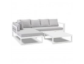 Salon de jardin en angle 'VERONA L SHAPE' en tissu gris clair et aluminium blanc