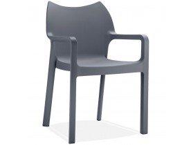Chaise design de terrasse 'VIVA' grise foncée en matière plastique