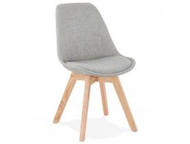 Chaise scandinave 'WILLY' en tissu gris avec pieds en bois finition naturelle