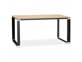 Petit bureau droit design 'XLINE' en bois finition naturelle et métal noir - 140x70 cm