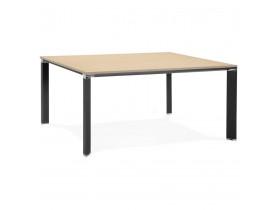 Table de réunion / bureau bench 'XLINE SQUARE' en bois finition naturelle et métal noir - 160x160 cm