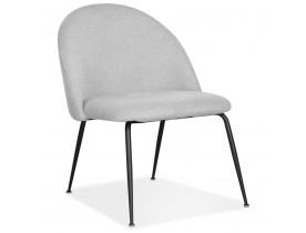 Fauteuil lounge 'ZILLA' en tissu gris et pieds en métal noir