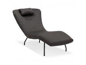 Chaise longue design 'ZOLA' en tissu gris et pieds en métal noir