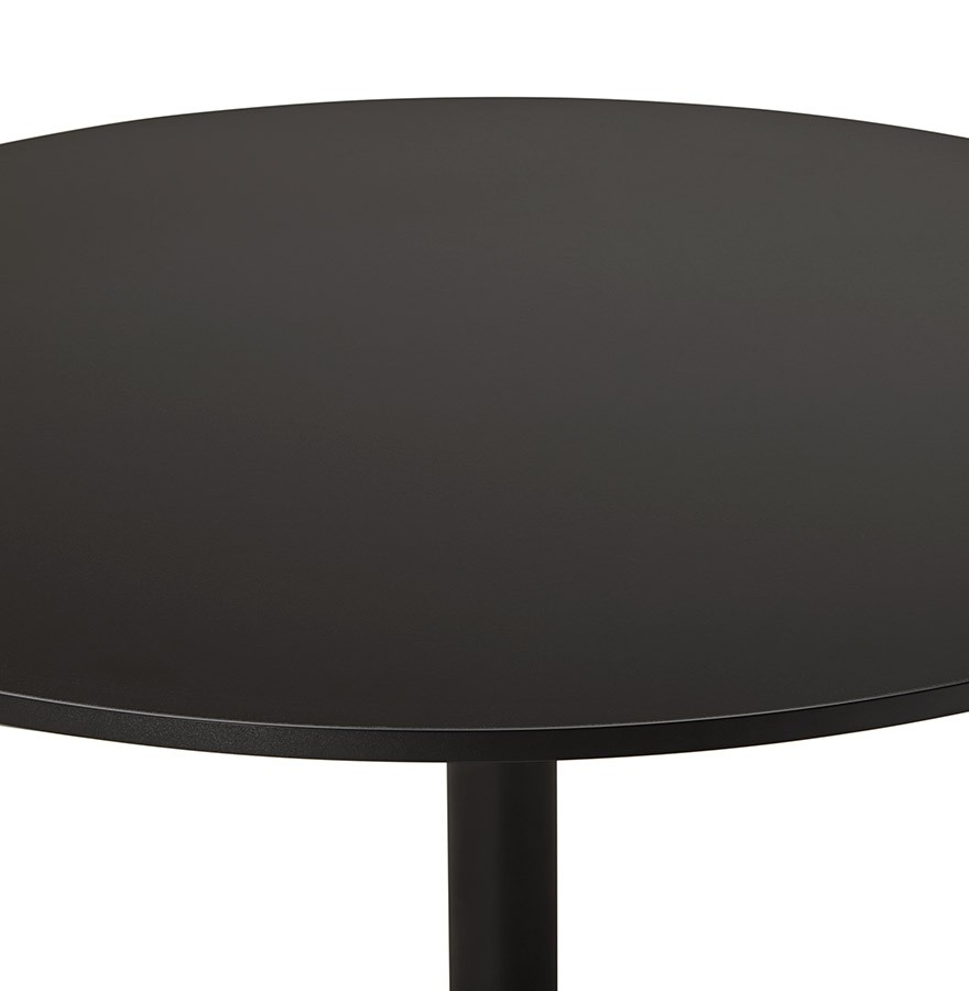 Table de bureau ronde noire atlanta 90 cm table diner for Bureau 90 cm de long