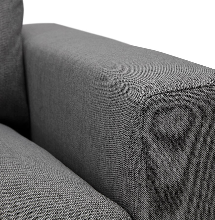 Canap droit moderne augustin en tissu gris fonc for Canape moderne tissu