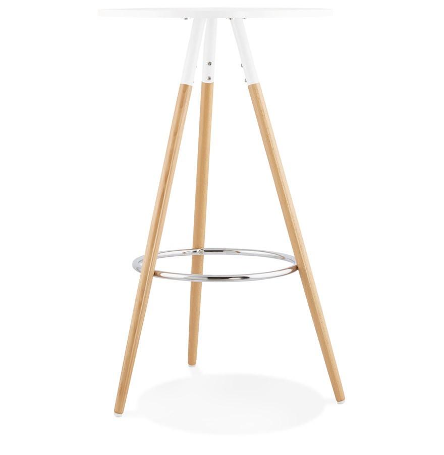 Table haute ronde bary en bois blanc mange debout design - Table haute en bois ...