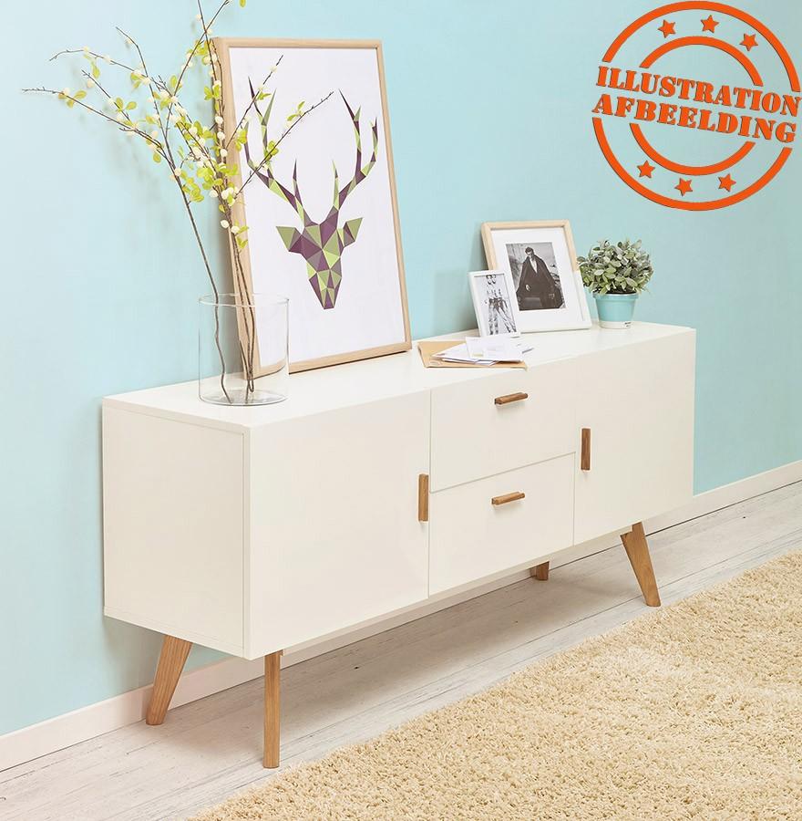 Bahut Design Diego En Bois Blanc Style Scandinave # Buffet Bas Scandinave Dimension