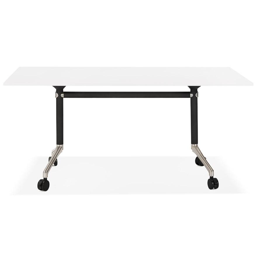 grand bureau pliable flexo blanc sur roulettes bureau droit. Black Bedroom Furniture Sets. Home Design Ideas