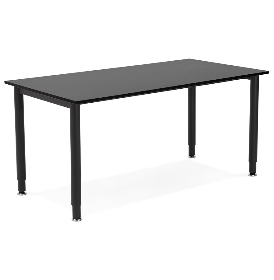 Bureau design focus noir table de r union 160x80 cm for Table bureau design