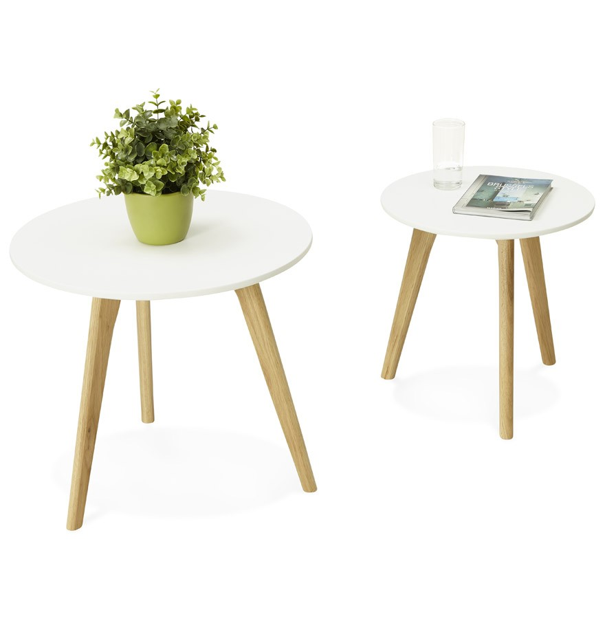 Table gigogne ronde gaby au design scandinave table d for Petite table style scandinave