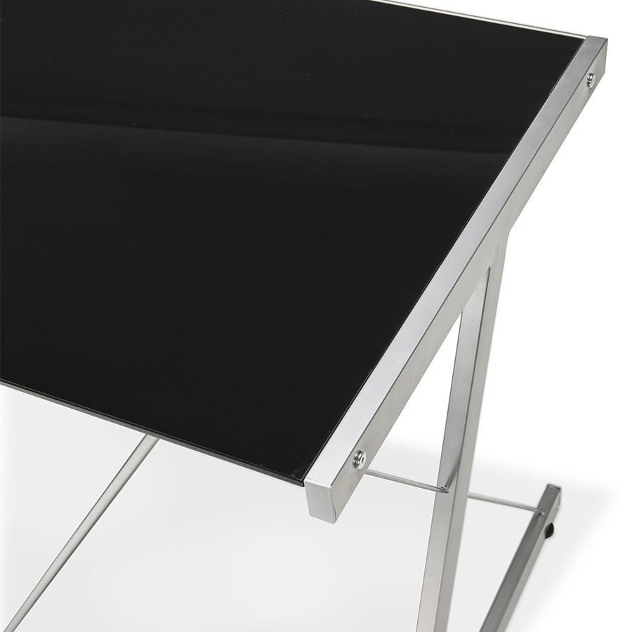 grand bureau d'angle geek - bureau design en verre noir