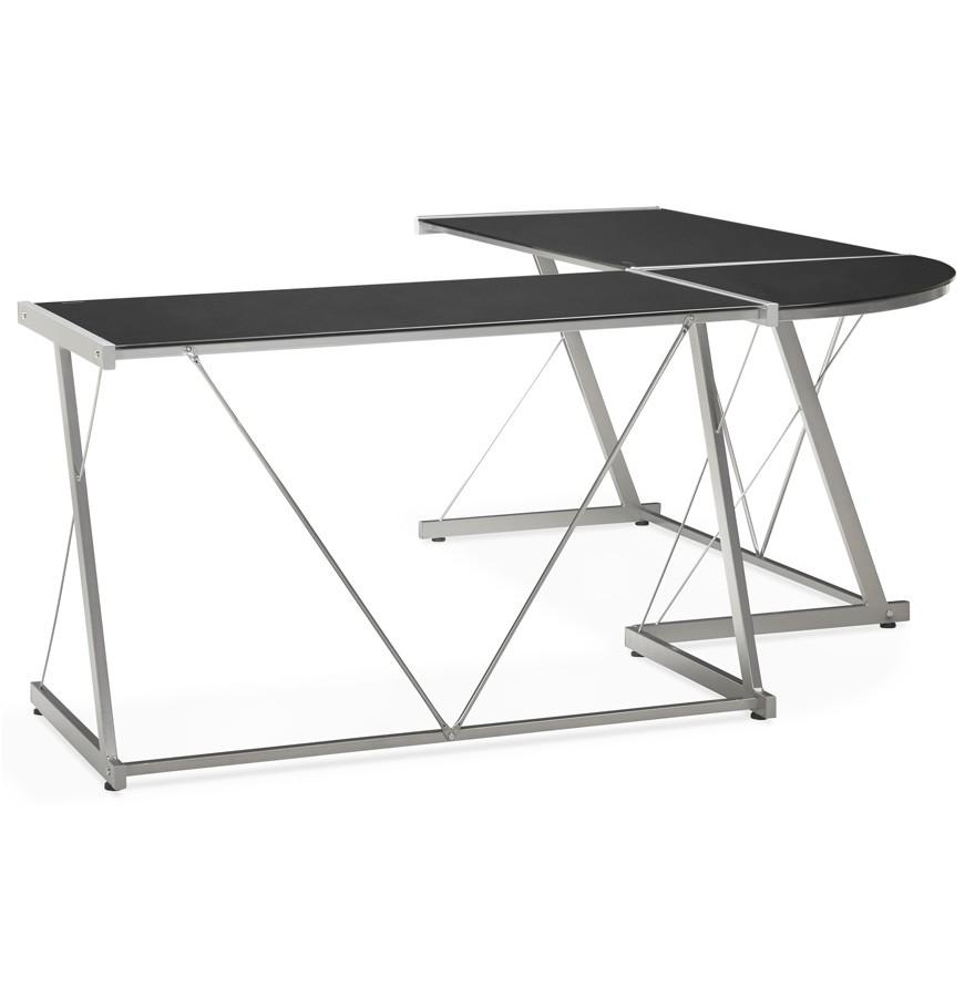 Grand bureau d 39 angle geek bureau design en verre noir - Bureau angle verre noir ...