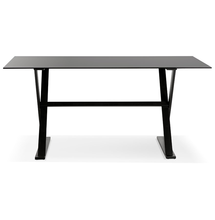 table bureau avec pieds en croix havana en verre noir 160x80. Black Bedroom Furniture Sets. Home Design Ideas