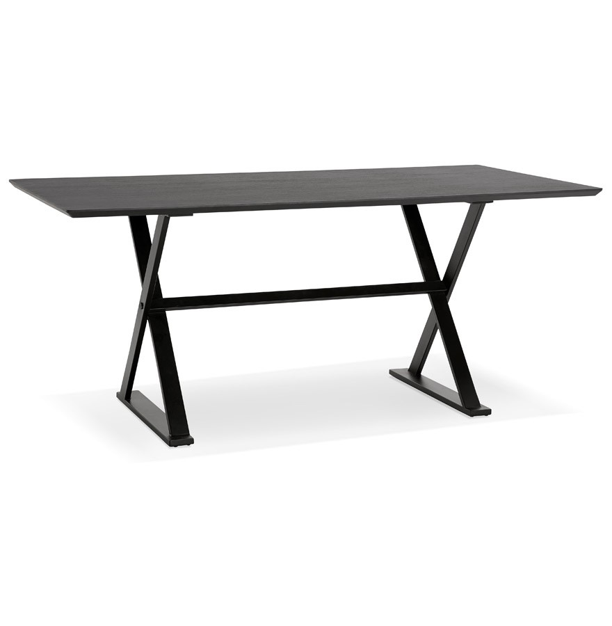 table avec pieds en croix havana noire bureau design 180x90 cm. Black Bedroom Furniture Sets. Home Design Ideas