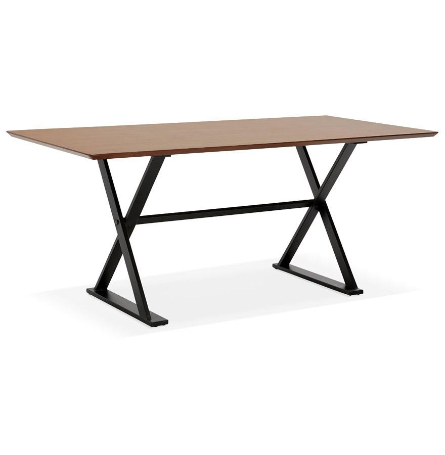 table avec pieds en croix havana en bois finition noyer 180x90. Black Bedroom Furniture Sets. Home Design Ideas