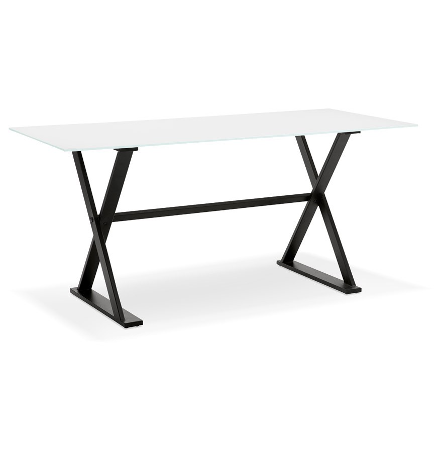 table bureau avec pieds en croix havana en verre blanc 160x80. Black Bedroom Furniture Sets. Home Design Ideas