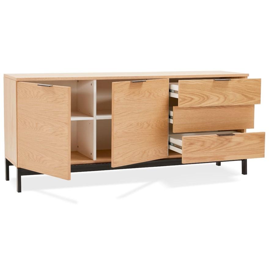 Bahut design hippie en bois finition naturelle meuble de for Finition de meuble en bois