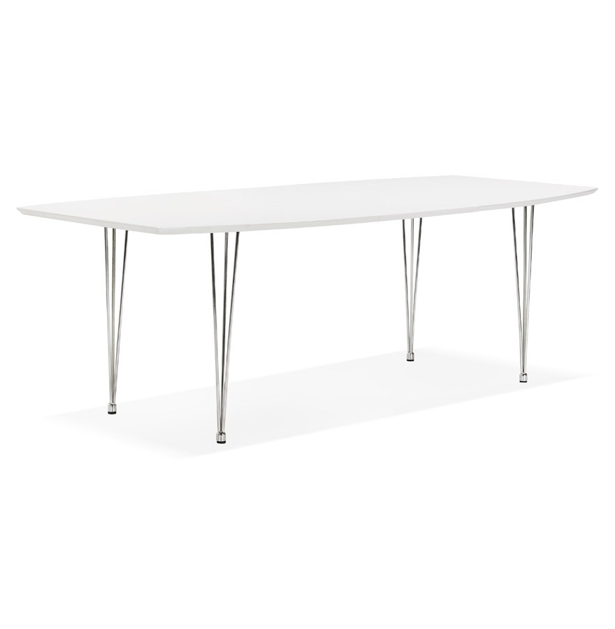 Table d ner design huski table extensible blanche for Table a diner extensible