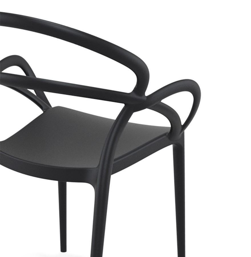 Chaise de terrasse JULIETTE design noire Chaise de jardin