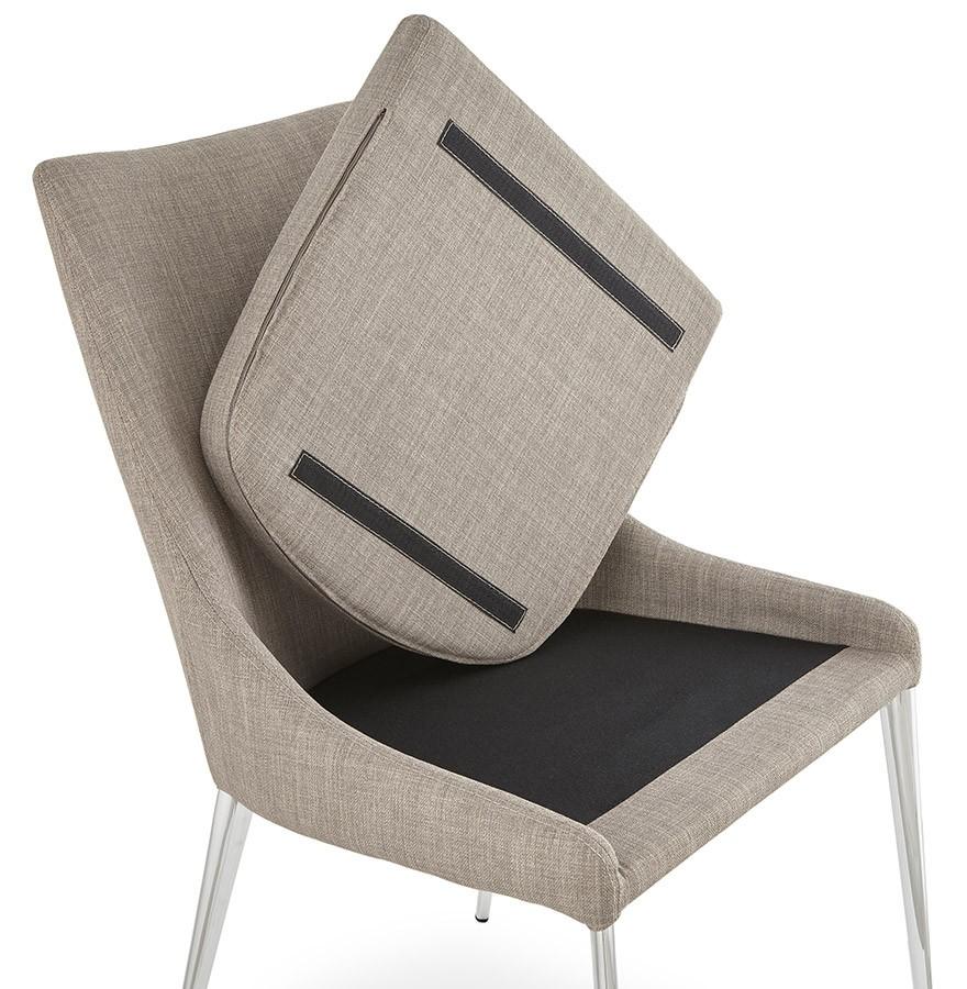 Chaise design laly en tissu gris for Chaise tissu gris