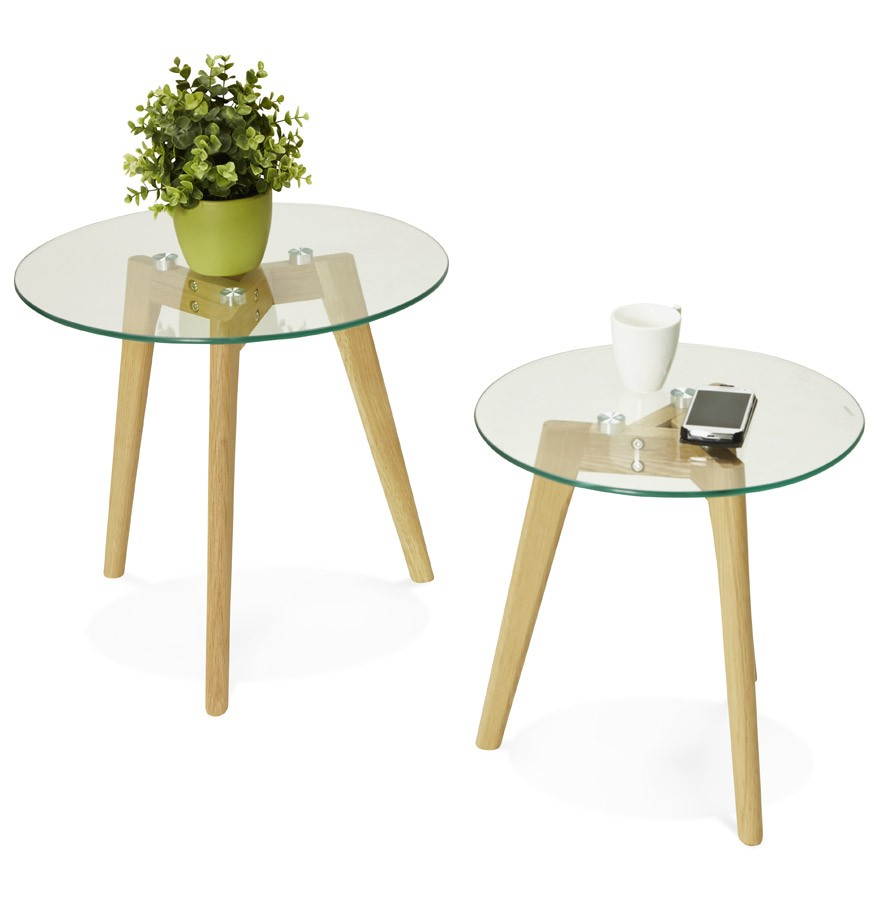 Table Gigogne Ronde Lovyou En Verre Table D Appoint Design