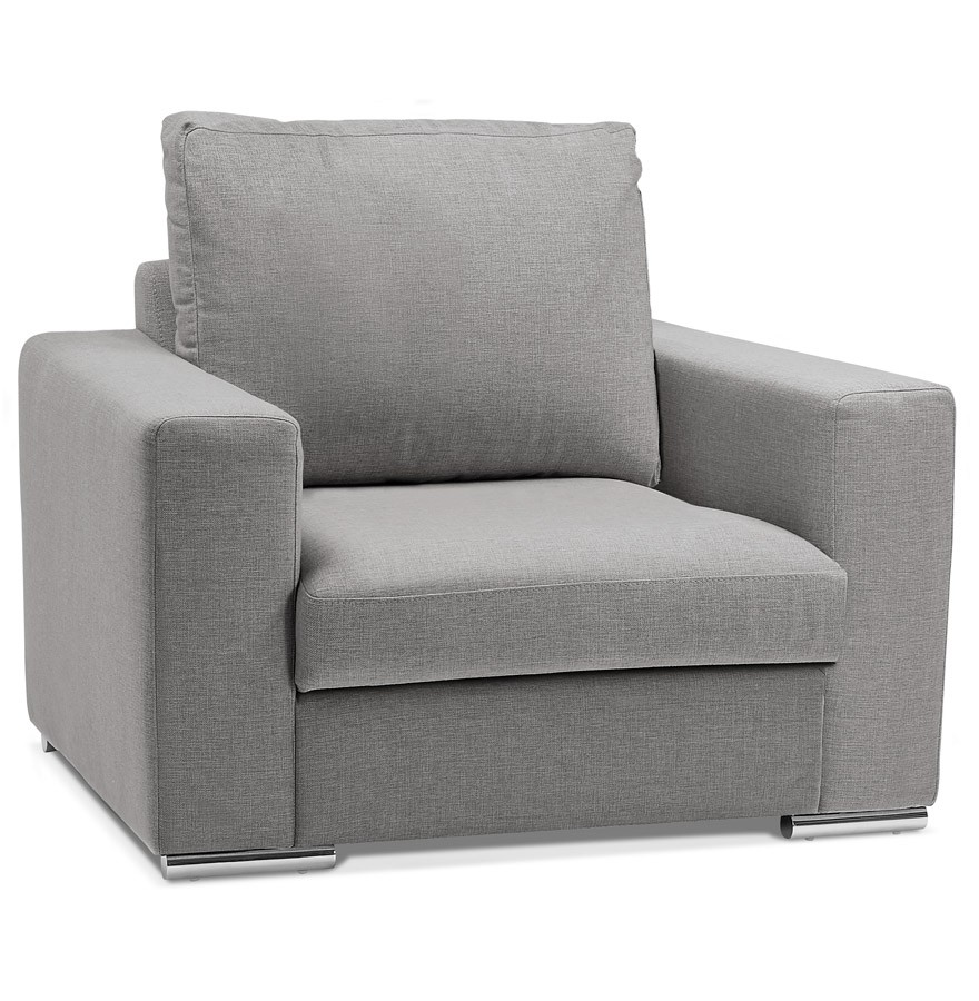 large fauteuil de salon 1 place luca mini en tissu gris clair. Black Bedroom Furniture Sets. Home Design Ideas