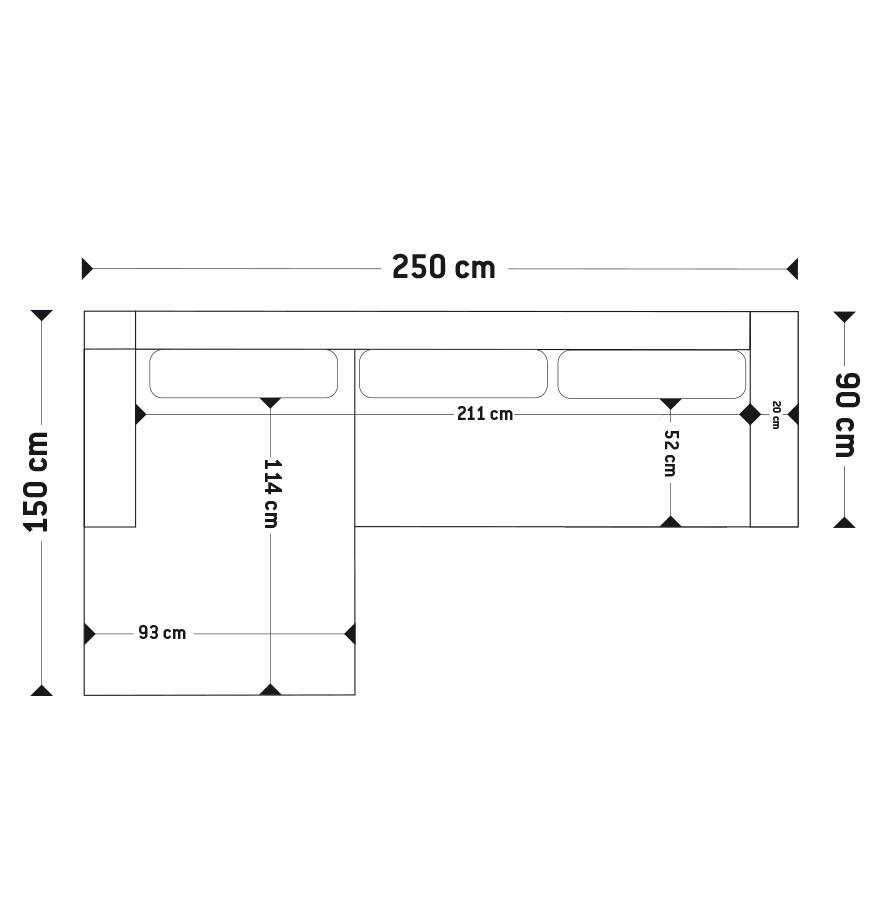 Canap d 39 angle design melting noir avec m ridienne gauche for Dimension canape avec meridienne