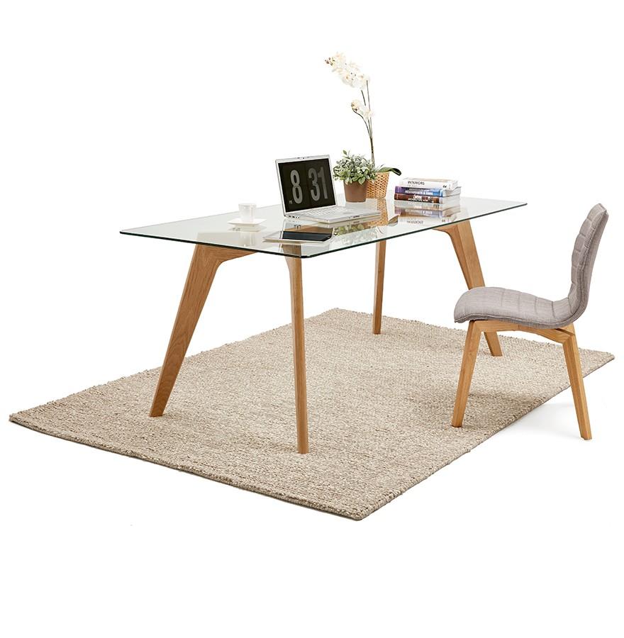 Table de salle manger design salto en verre 180x90 cm for Salle a manger en verre design