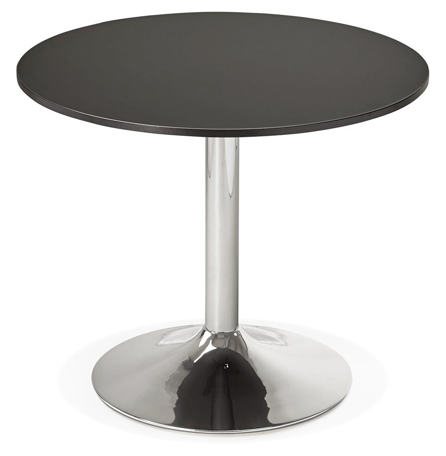 table de bureau ronde noire saopolo 90 cm table diner. Black Bedroom Furniture Sets. Home Design Ideas