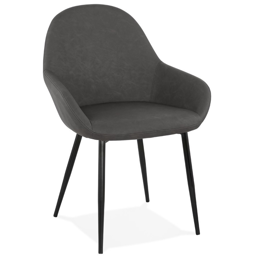 chaise avec accoudoirs thelma grise chaise design. Black Bedroom Furniture Sets. Home Design Ideas