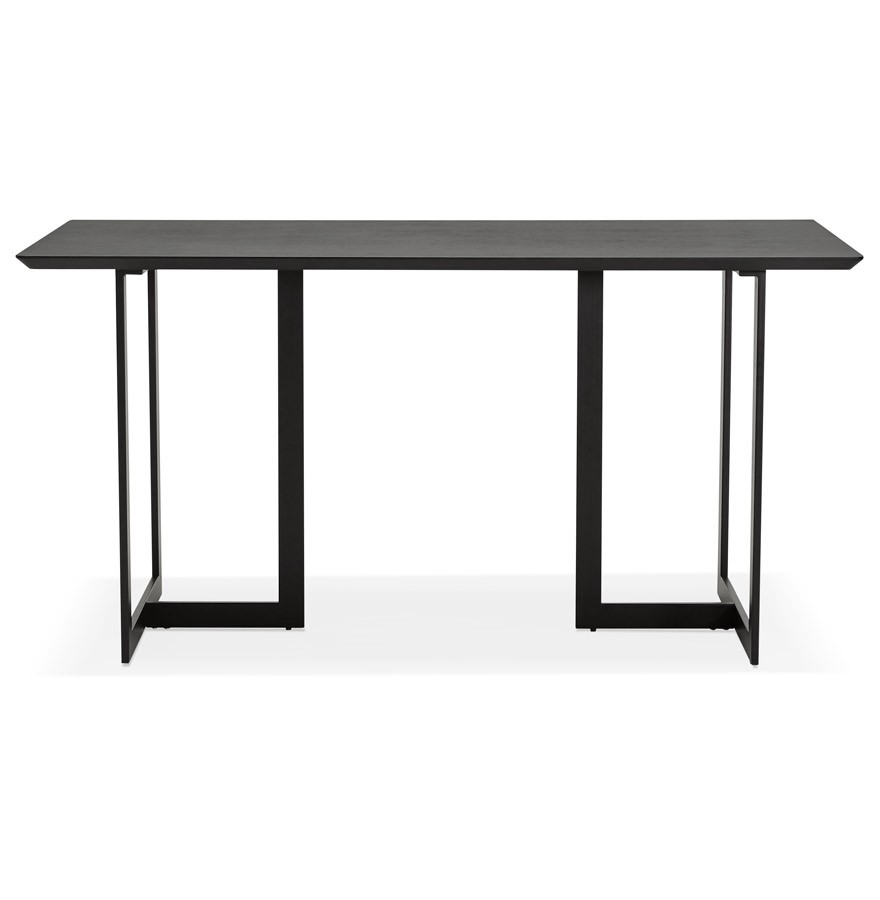 Table design titus en bois noir bureau moderne 150x70 cm for Table bureau design