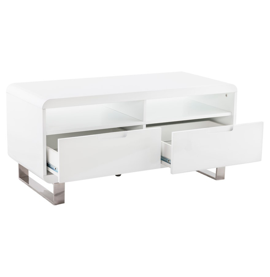 Meuble de t l vision video en bois blanc mobilier design for Meuble tv 100 cm blanc laque