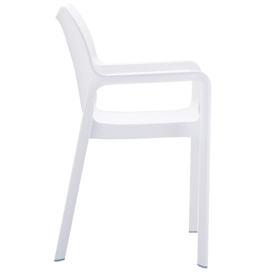 Chaise de terrasse viva design en mati re plastique blanche - Chaise blanche plastique ...