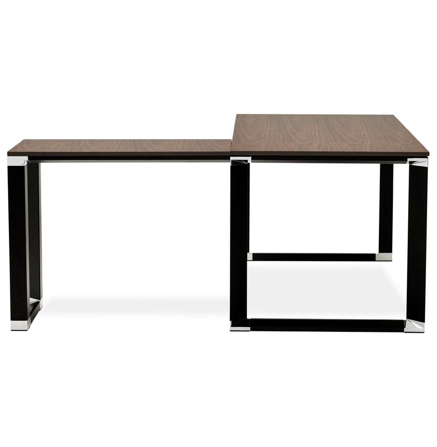 bureau d 39 angle design xline en bois finition noyer et m tal noir. Black Bedroom Furniture Sets. Home Design Ideas