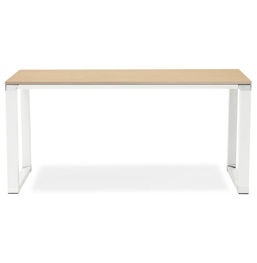 bureau droit design xline en bois finition naturelle et m tal blanc. Black Bedroom Furniture Sets. Home Design Ideas