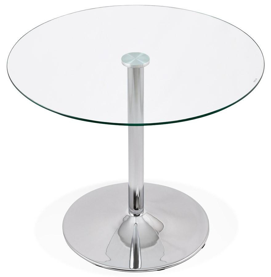 Petite table de cuisine ronde youpi en verre 90 cm - Table de cuisine ronde en verre ...