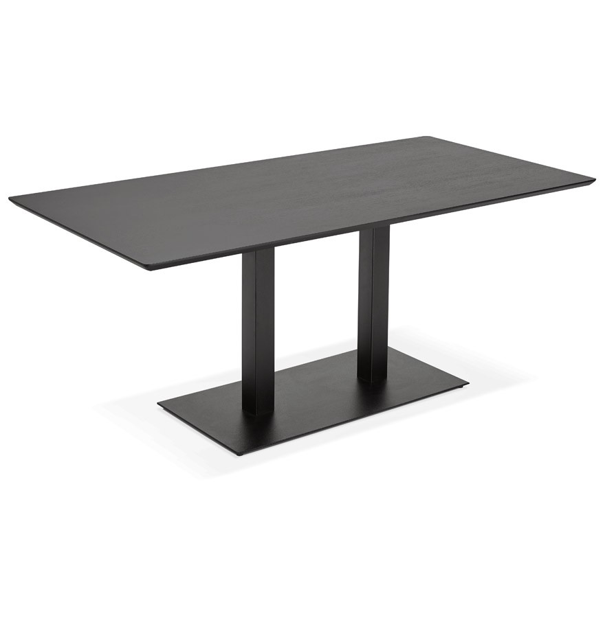Table de r union zumba noir 180x90 cm bureau design for Table bureau design