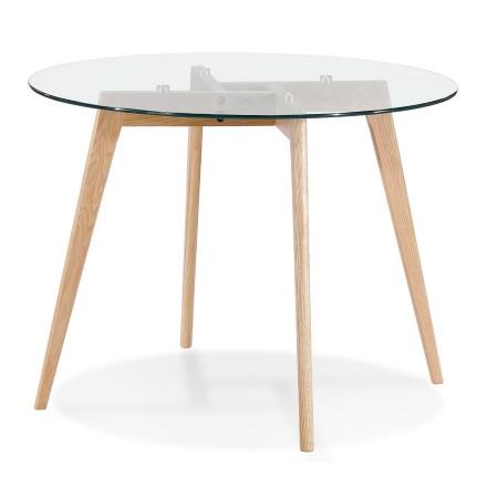 Kleine, ronde 'ANGELA' eettafel van doorzichtig glas - Ø 100 cm
