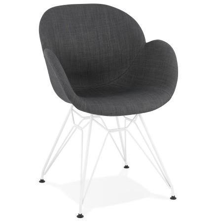 Moderne stoel 'ATOL' van donkergrijze stof met verchroomd metalen voeten