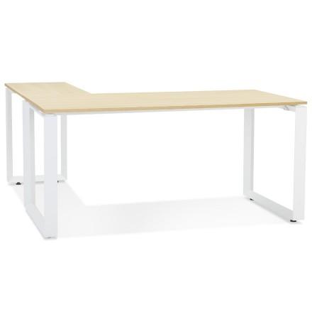 Design hoekbureau 'BAKUS' van natuurkleurig afgewerkte hout en wit metaal - 160 cm