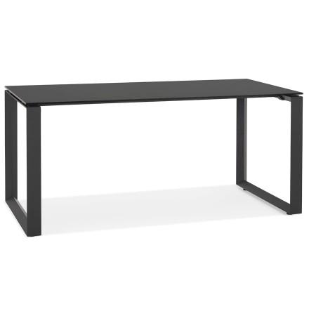 Rechte design bureau 'BAKUS' van zwart glas en metaal - 160x80 cm