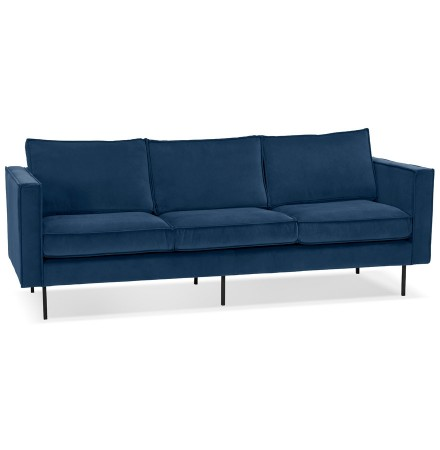Rechte design bank 'BANDY' in blauw fluweel - 3-zits bank