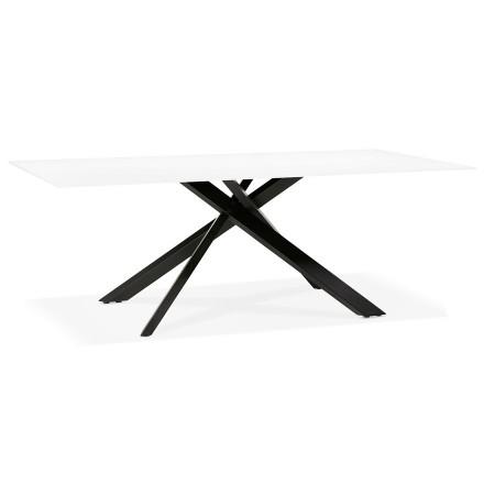 Design eettafel 'BIRDY' in wit glas met zwarte x-vormige centrale voet - 200 x 100 cm