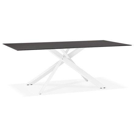 Design eettafel 'BIRDY' in zwart glas met witte x-vormige centrale voet - 200 x 100 cm