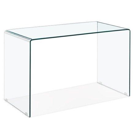 Rechte en zeer moderne bureau van transparant glas 'BOBBY DESK'