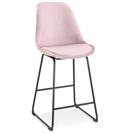 Halfhoge kruk 'BULLY MINI' van roze velours met zwarte metalen poten