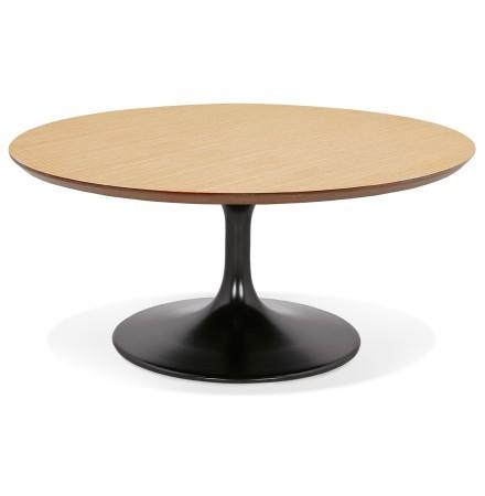 Ronde salontafel 'BUSTER MINI' van natuurkleurige hout met zwarte metalen poot  - Ø 90 cm