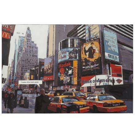 Designschilderij 'BUSY' time square New York op bedrukt doek 120x80 cm